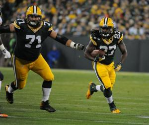Eddie Lacy ran all over the Chicago Bears defense to the tune of 150 yards and a touchdown